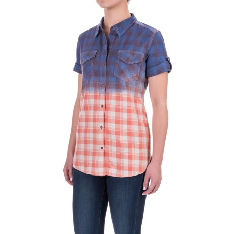 Gramicci Foula Dip-Dyed Plaid Shirt - Short Sleeve (For Women) in Crabapple