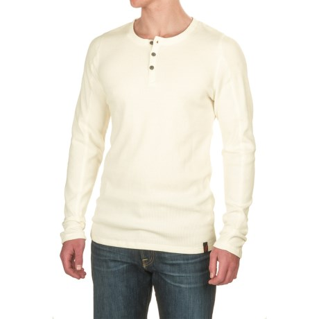 Gramicci Jak Waffle Henley Shirt - Stretch Cotton, Long Sleeve (For Men) in Off White