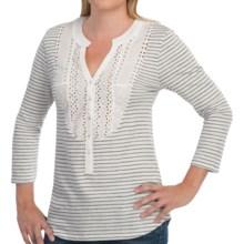 Gramicci Leah Seaside Stripe Henley Shirt - 3/4 Sleeve (For Women) in Cream - Closeouts
