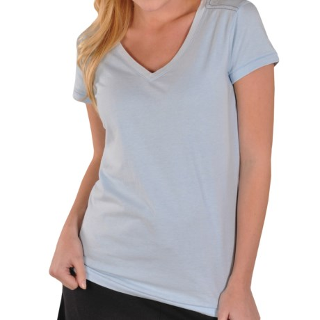 Gramicci Marea T-Shirt - V-Neck, Short Sleeve (For Women) in Minocqua Blue