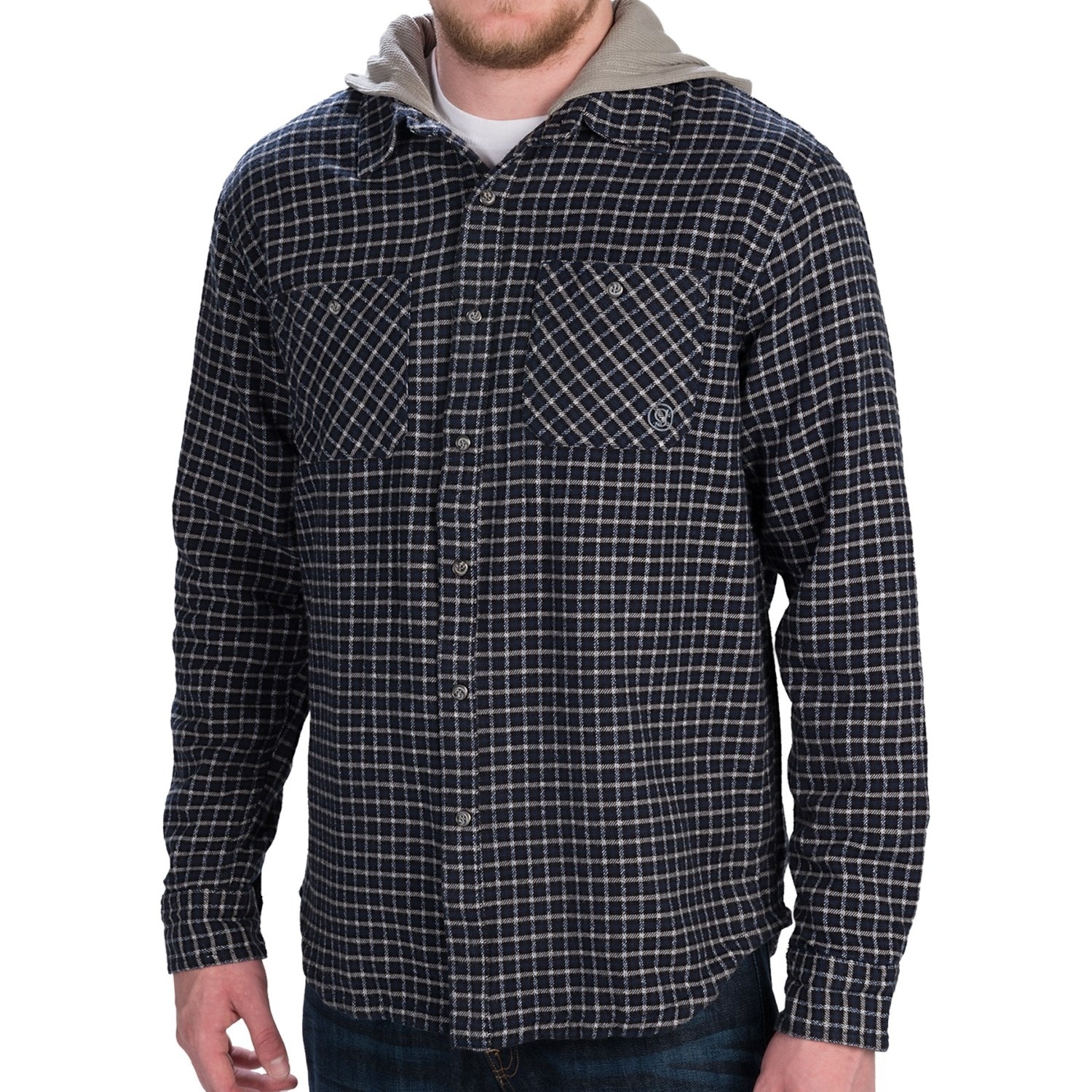 Gramicci murphy hooded flannel shirt jacket long sleeve for Men s hooded flannel shirt jacket