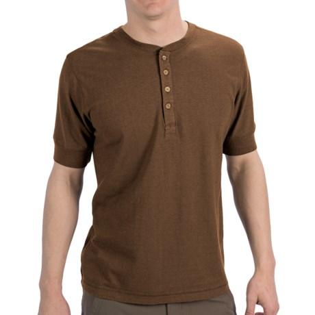 Gramicci Paxton Henley Shirt - UPF 20, Hemp-Organic Cotton, Short Sleeve (For Men) in Coconut Brown