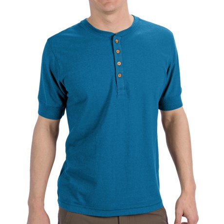 Gramicci Paxton Henley Shirt - UPF 20, Hemp-Organic Cotton, Short Sleeve (For Men) in Coconut Brown