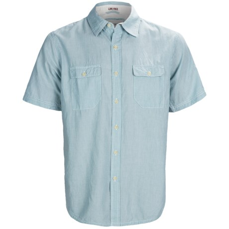 Gramicci Scout Railroad Stripe Shirt - Short Sleeve (For Men) in Toasted Coconut