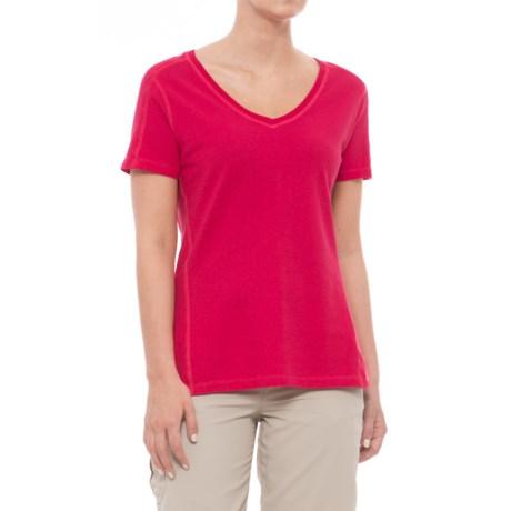 Gramicci Sunshine T-Shirt - V-Neck, Short Sleeve (For Women) in Goji Berry