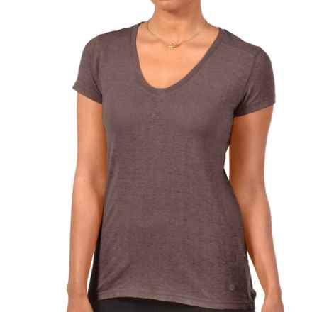 Gramicci Tara V-Neck T-Shirt - UPF 20, Hemp-Organic Cotton, Short Sleeve (For Women) in Mink Brown - Closeouts