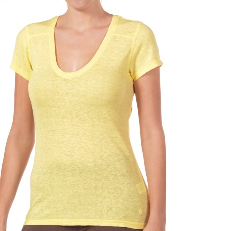 Gramicci Tara V-Neck T-Shirt - UPF 50, Hemp-Organic Cotton, Short Sleeve (For Women) in Citris Yellow