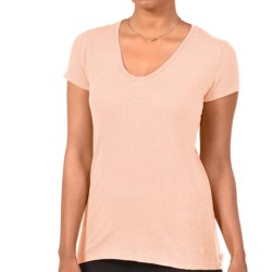 Gramicci Tara V-Neck T-Shirt - UPF 50, Hemp-Organic Cotton, Short Sleeve (For Women) in Peach Sorbet