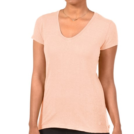 Gramicci Tara V-Neck T-Shirt - UPF 50, Hemp-Organic Cotton, Short Sleeve (For Women) in Peach Sorbet
