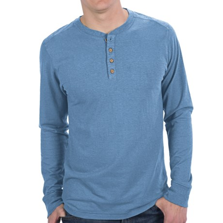 Gramicci Tavern Henley Shirt - UPF 20, Hemp-Organic Cotton, Long Sleeve (For Men) in Ice Blue