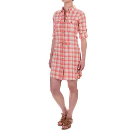Gramicci Ventura Plaid Shirt Dress - Cotton, Long Sleeve (For Women) in Crabapple - Closeouts