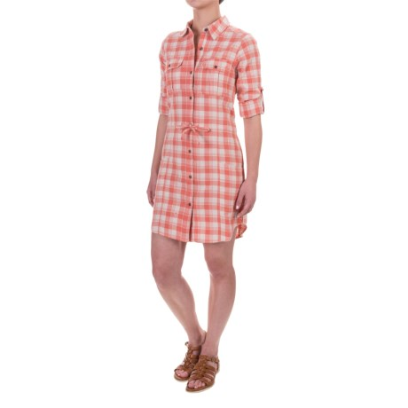 Gramicci Ventura Plaid Shirt Dress - Cotton, Long Sleeve (For Women) in Crabapple