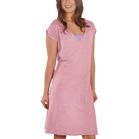 Gramicci Zuri Hoodie Dress - Hemp-Organic Cotton, Short Sleeve (For Women) in Candy Pink
