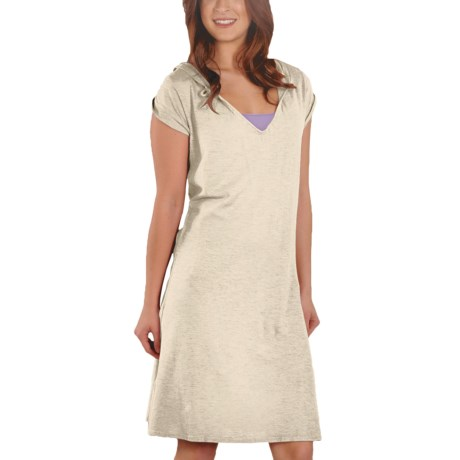 Gramicci Zuri Hoodie Dress - Hemp-Organic Cotton, Short Sleeve (For Women) in Star White