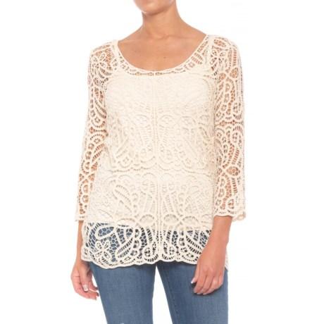 Grand & Greene Crochet Shirt - 3/4 Sleeve (For Women) in Natural
