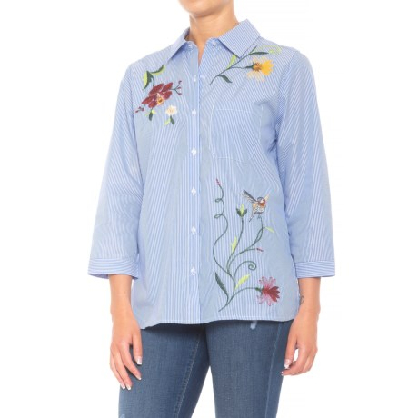 Grand & Greene Embroidered Blouse - 3/4 Sleeve (For Women) in Blue