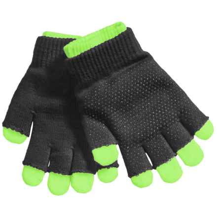 Grand Sierra 2-in-1 Knit Gloves (For Little and Big Kids) in Black/Neon Green - Closeouts