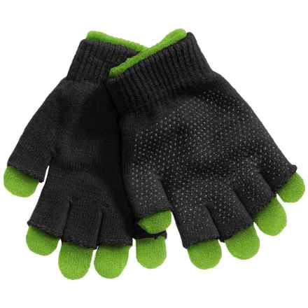 Grand Sierra 2-in-1 Knit Gloves (For Little and Big Kids) in Navy/Green - Closeouts