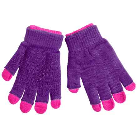 Grand Sierra 2-in-1 Knit Gloves (For Little and Big Kids) in Purple/Hot Pink - Closeouts