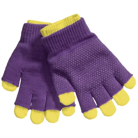 Grand Sierra 2-in-1 Knit Gloves (For Little and Big Kids) in Purple/Neon Yellow