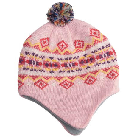 Grand Sierra Beanie Hat - Ear Flaps, Fleece Lining (For Youth) in Light Pink/Multi Band