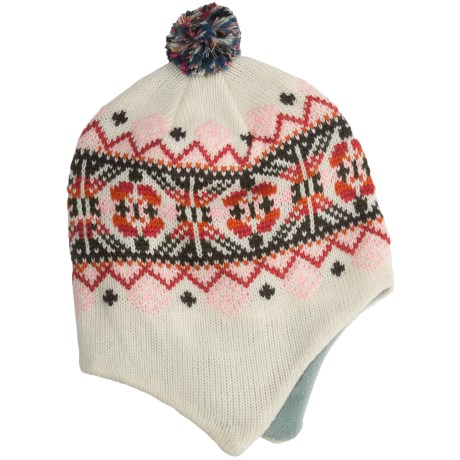 Grand Sierra Beanie Hat - Ear Flaps, Fleece Lining (For Youth) in Natural/Multi Band