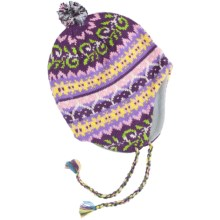 Grand Sierra Beanie Hat - Ear Flaps, Fleece Lining (For Youth) in Purple/Multi Print - Closeouts