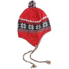 Grand Sierra Beanie Hat - Ear Flaps, Fleece Lining (For Youth) in Red/Multi Snowflake - Closeouts