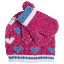 Grand Sierra Chenille Beanie Hat and Mitten Set (For Toddler Girls) in Pink - Closeouts