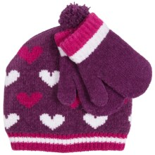Grand Sierra Chenille Beanie Hat and Mitten Set (For Toddler Girls) in Purple - Closeouts