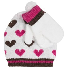 Grand Sierra Chenille Beanie Hat and Mitten Set (For Toddler Girls) in White - Closeouts