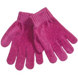 Grand Sierra Chenille Stretch Gloves (For Girls) in Fuchsia