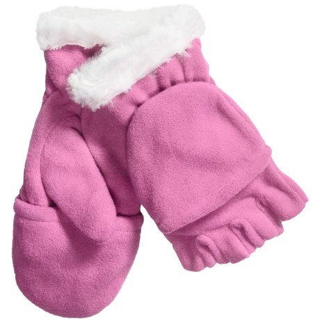 Grand Sierra Convertible Gloves - Microfleece, Faux Fur (For Girls) in Hot Pink