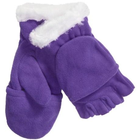 Grand Sierra Convertible Gloves - Microfleece, Faux Fur (For Girls) in Purple