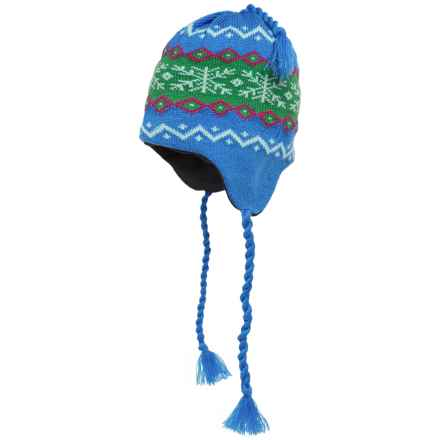 Grand Sierra Ear Flap Hat (For Little and Big Kids) in Blue/Green/Mauve - Closeouts