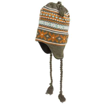 Grand Sierra Ear Flap Hat (For Little and Big Kids) in Olive/Orange/White - Closeouts