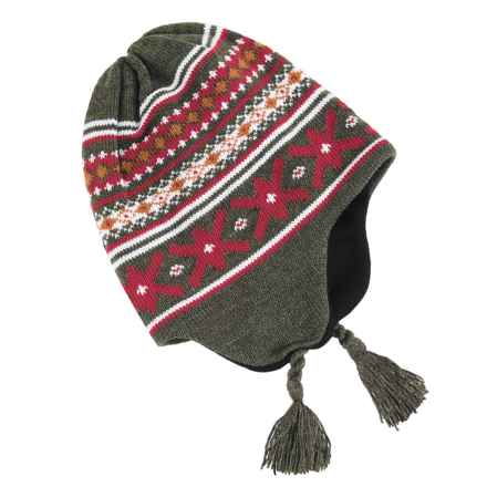 Grand Sierra Ear Flap Hat (For Little and Big Kids) in Olive/Red/White - Closeouts