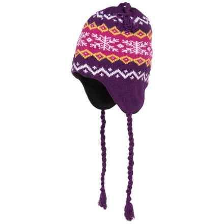 Grand Sierra Ear Flap Hat (For Little and Big Kids) in Purple/Mauve/Yellow - Closeouts