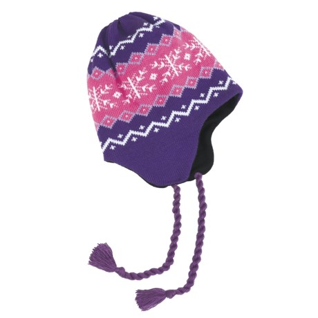 Grand Sierra Ear Flap Hat (For Little and Big Kids) in Purple/Pink/White