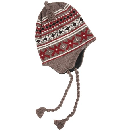 Grand Sierra Ear Flap Hat (For Little and Big Kids) in Taupe/Dark Red/ Black