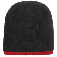 Grand Sierra Embossed Skull Beanie Hat (For Boys) in Black/Red - Closeouts