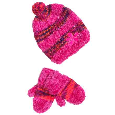 Grand Sierra Eyelash Hat and Mitten Set (For Toddler Girls) in Hot Pink - Closeouts