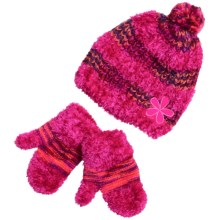 Grand Sierra Eyelash Hat and Mitten Set (For Toddler Girls) in Pink - Closeouts