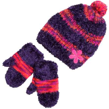 Grand Sierra Eyelash Hat and Mitten Set (For Toddler Girls) in Purple - Closeouts