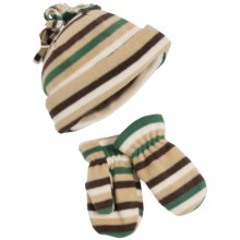 Grand Sierra Fleece Hat and Mitten Set (For Toddlers) in Tan/Green Stripes - Closeouts