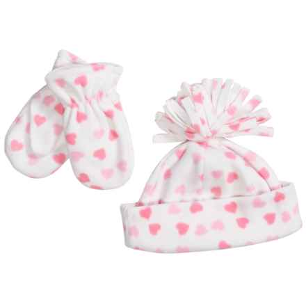 Grand Sierra Fleece Hat and Mitten Set (For Toddlers) in White/Pink Hearts - Closeouts