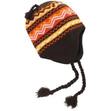 Grand Sierra Jacquard Pattern Beanie - Ear Flaps, Fleece Lined (For Men) in Brown - Closeouts