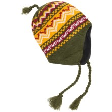 Grand Sierra Jacquard Pattern Beanie - Ear Flaps, Fleece Lined (For Men) in Green - Closeouts