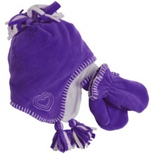 Grand Sierra Microfleece Hat and Mitten Set (For Toddler Girls) in Purple - Closeouts