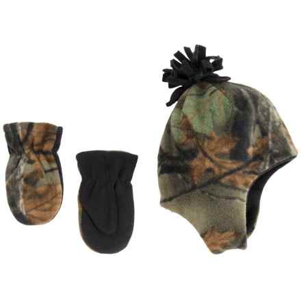 Grand Sierra Microfleece Hat and Mittens Set - Fully Lined (For Toddlers) in Camo W/Black - Closeouts